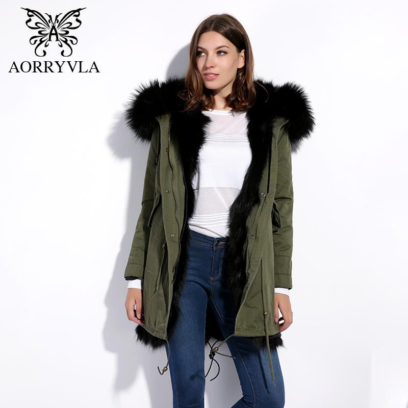 AORRYVLA Real Fur Parka Women Winter 2017 Large Raccoon Fur Collar Hooded Long Coat Thick Fox Fur Liner Female Warm Outer Wear printed long raccoon fur collar coat women winter real rabbit fur liner hooded jacket women bomber parka female ladies fp896