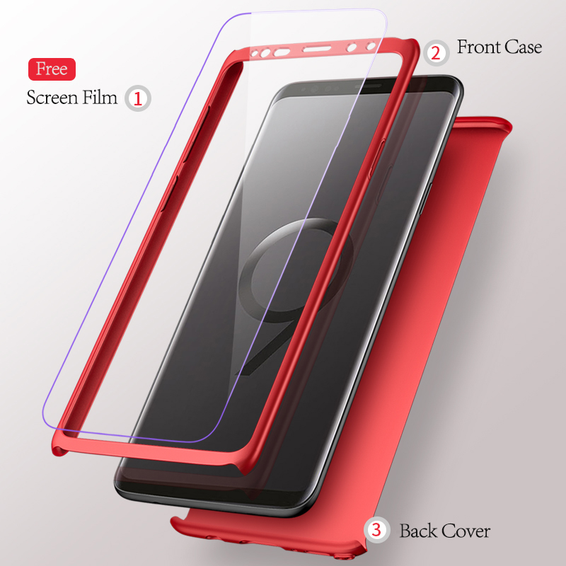 purchase cheap bd60c 75dbb 360 Full Coverage Bag For Samsung A8 2018 A8 Plus 2018 Case Accessories +  Tempered Film For Samsung Galaxy A8 2018 A8 Plus 2018