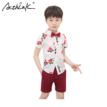 ActhInK New Design 2Pcs Kids Shirts Shorts Set Baby Boys Floral Suit Beach Party Birthday Costume England Style