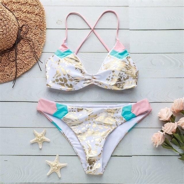 KLV Women's Splice Print Two Piece Swimsuit Pushups Swimwear Beachwear Cross bandage