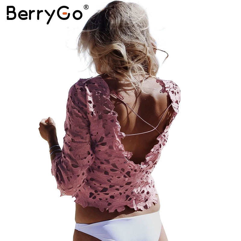 BerryGo Summer hollow out white   shirt     blouse   chemise femme Elegant sexy flower blusas Backless lace   blouse     shirt   women tops