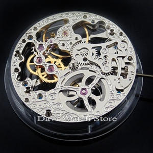 Image 2 - 17 Jewels Silvery Full Skeleton Hand Winding 6497 movement fit Parnis mens watch