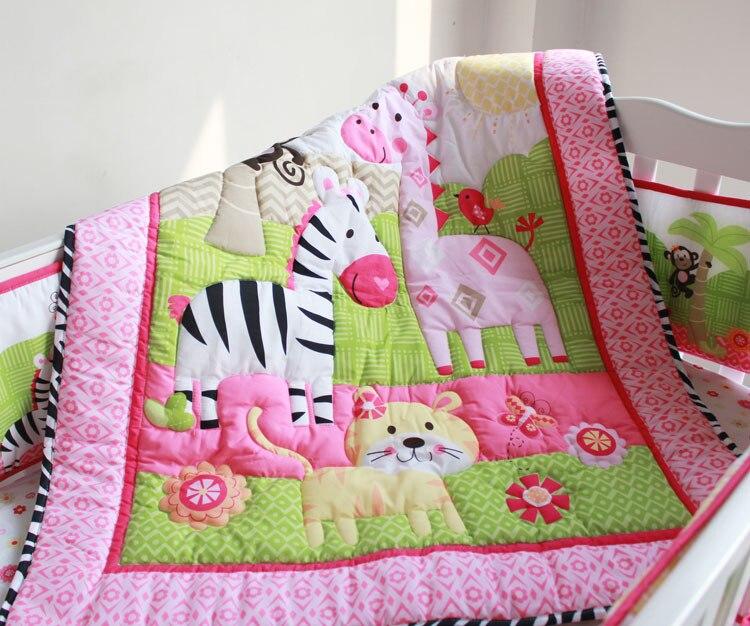 Mother & Kids Baby Bedding Zebra Animal Cartoon 7 Pcs Baby Bedding Set Baby Bedding Set Cartoon Baby Crib Set Quilt Bumper Sheet Skirt