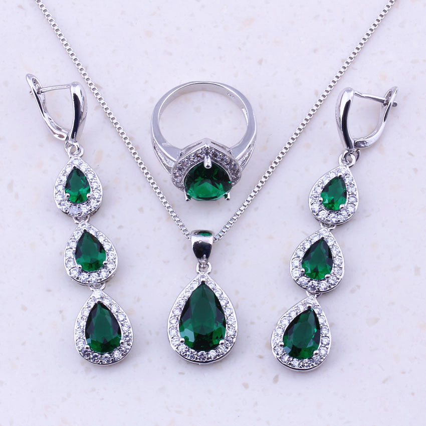 Enioyable Green Created Emerald White CZ 925 Sterling Silver Water - Fashion Jewelry