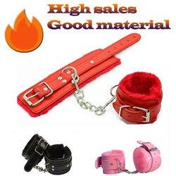 Сексуальные регулируемые наручники из искусственной кожи, 4 вида цветов, плюшевые манжеты на лодыжке, наручники, бондаж, сексуальные игрушк...