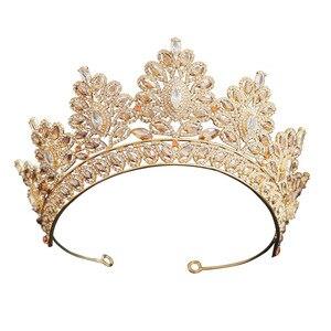Image 5 - シャンパンラインストーンバロック様式の花嫁クラウン韓国ヘッドジュエリーウェディングヘアアクセサリークリスタルページェントティアラ女王クラウン