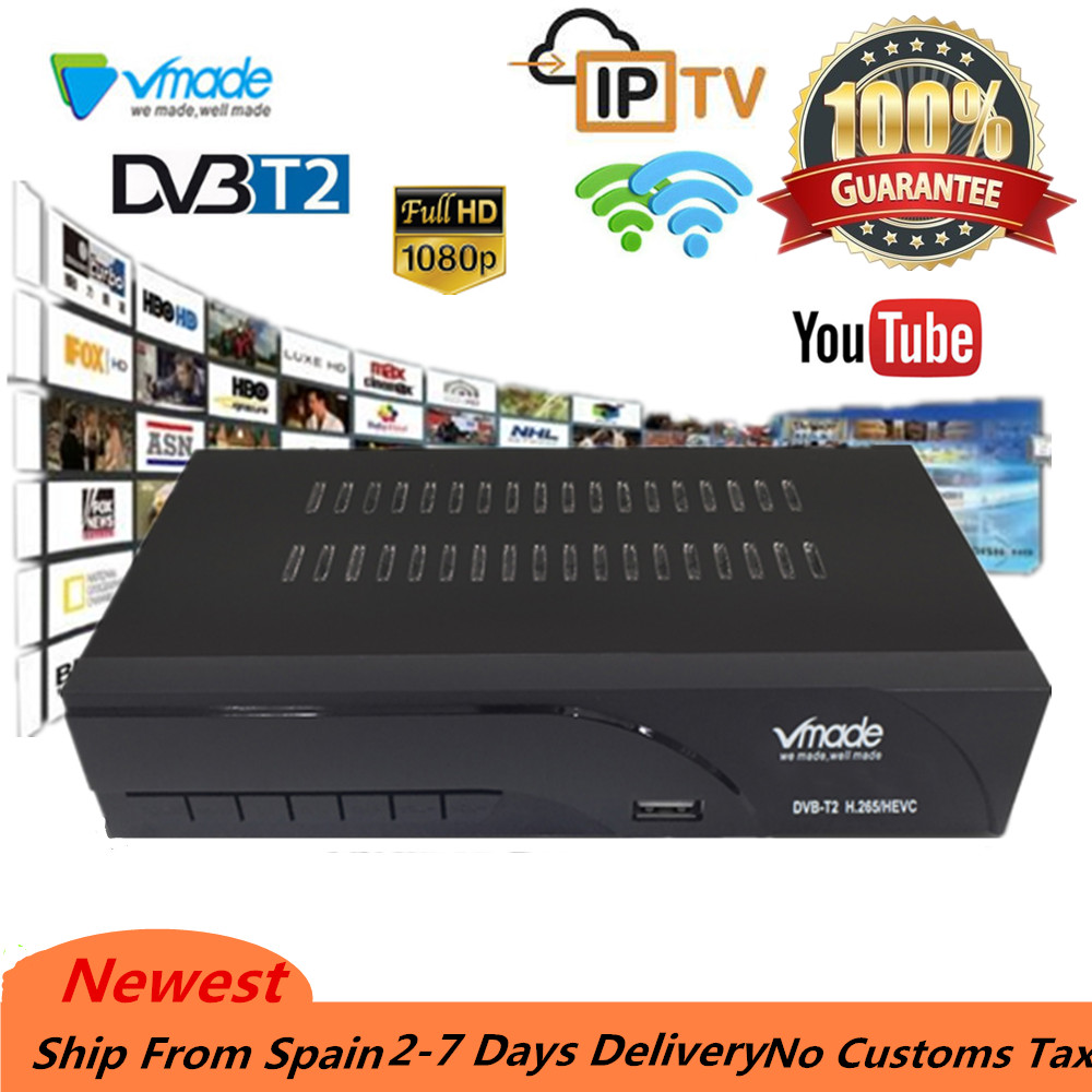 FTA dvb t2 Terrestrial receiver TV Tuner Receiver DVB-T2 Set top box 1080P Caixa de TV DVB-T Apoio RJ45 Wi-fi youtube Media Player