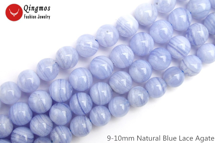 Qingmos Natural 9-10mm Round Blue Lace Agates Stone Loose Beads for Jewelry Making Necklace Bracelet Earring DIY 15 Strands 817