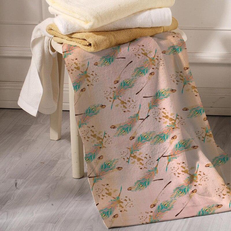 Bath Towel Sets Feather: Feather Print Beach Towel Microfabric Larger Bath Towel