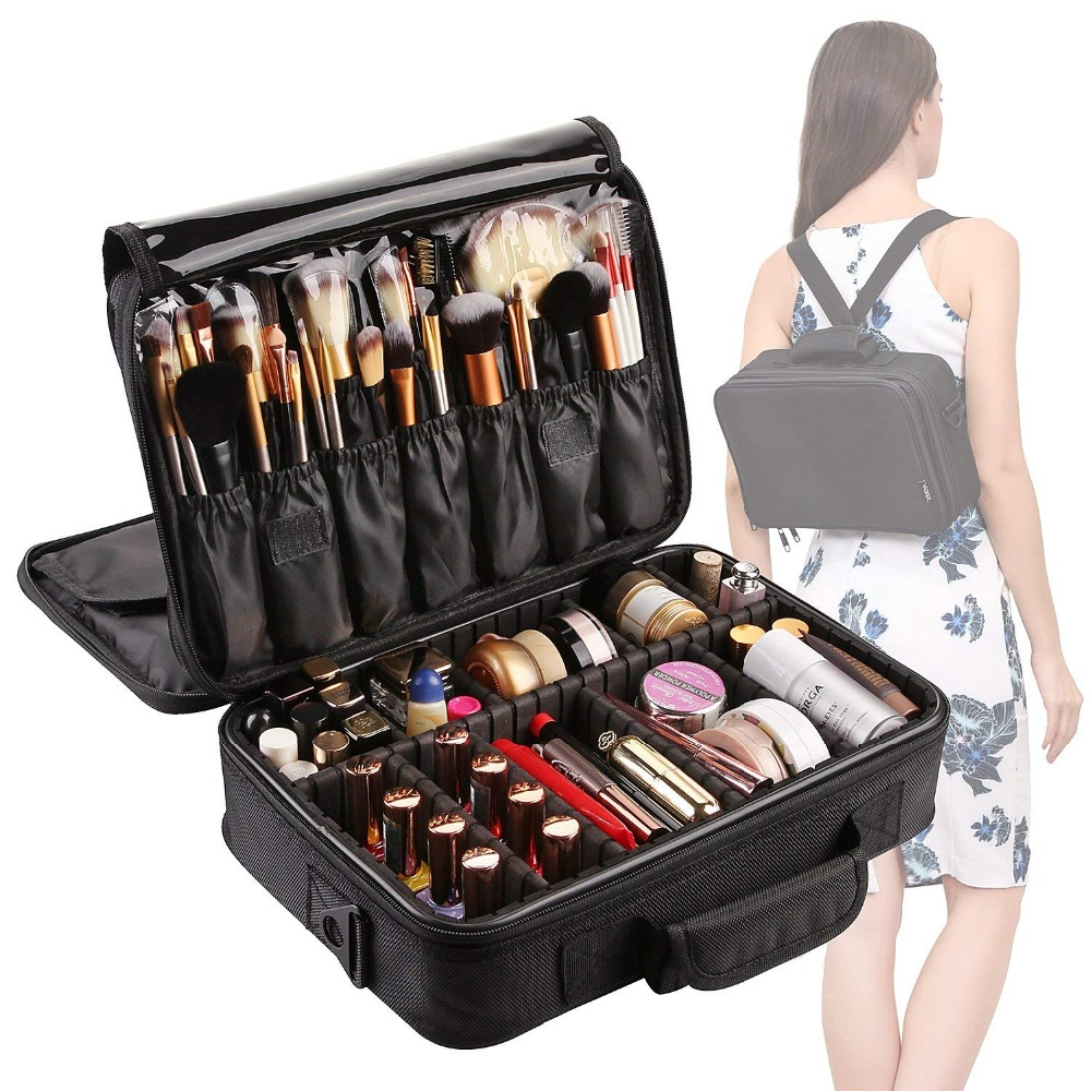 3 Layers Waterproof Makeup Bag Travel Cosmetic Case Brush Holder with Adjustable Divider  L04503 Layers Waterproof Makeup Bag Travel Cosmetic Case Brush Holder with Adjustable Divider  L0450
