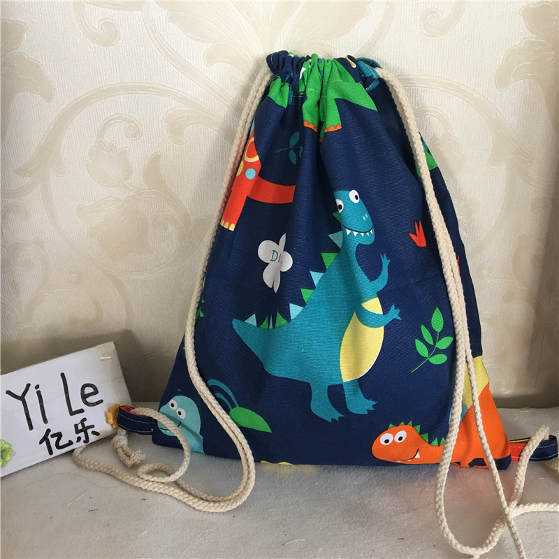 Yile Cotton Canvas Drawstring Backpack Student Shoes Bag Color Dinasour Navy Blue 8325c