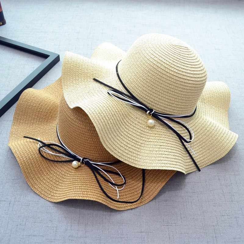 fb56c257b2fb11 2018 Women Summer Straw Hat Big Wide Brim Beach Travel Hat Sun Hats  Holdable Dun Block