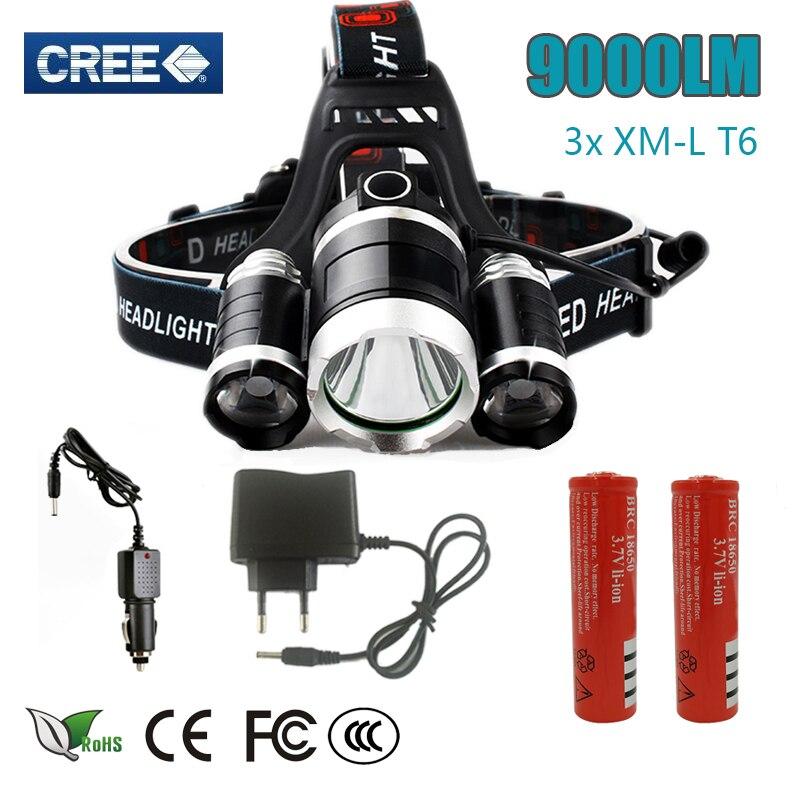 Z30 led Headlight 9000 Lumen 3 T6 headlamp 3x XM-L T6 LED Head Lamp Flashlight head torch Headlamp for camping/hunting/fishing