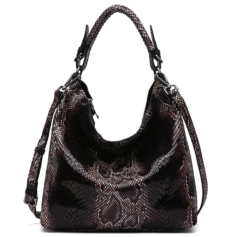 Bagaj ve Çantalar'ten Omuz Çantaları'de LY. SHARK Kadınlar Için Hakiki Deri Çanta Kadın Çanta Serpantin Desen Deri Çanta Hobos Tote Çanta Yaz postacı çantası'da  Grup 2