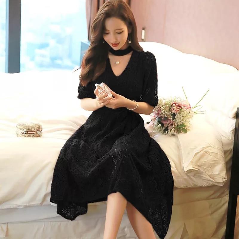 Mode femmes élégant confortable robe noire nouveauté coréen OL dame tempérament en plein air formelle grande taille dentelle a-ligne robe