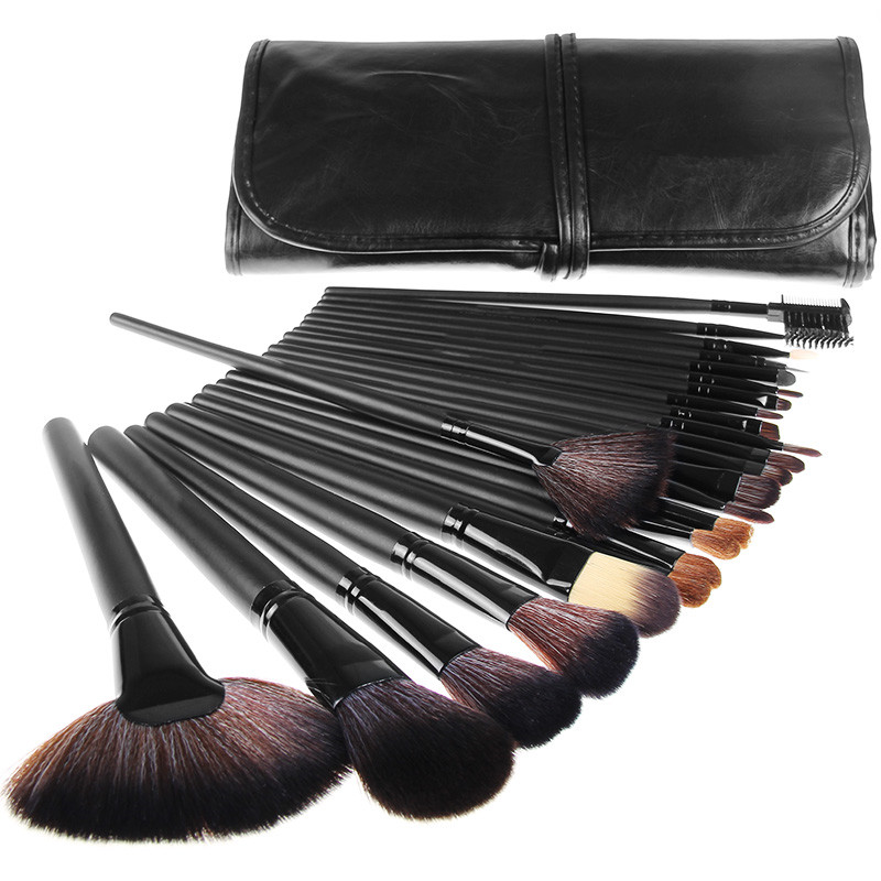 HOT 32 PCS Makeup brushes Professional Make up Tools kit of Cosmetic Set Brush for face with Black Leather Bag