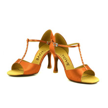 YOVE Dance Shoes T-line Satin Open Toe High Heel Women's Latin/Salsa Dance Shoes 3.25 Flare Heel More color LD-3114