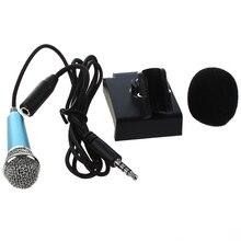 Мини-ручной микрофон для записи голоса, Интернет-чат на смартфоне, ноутбуке или планшете, с 3,5 мм микрофонным кабелем и подставкой для микрофона