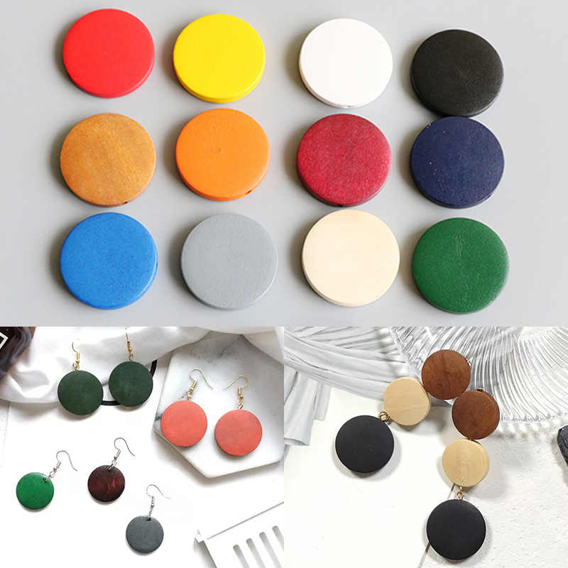 Hot 10PCS/Lot  Earrings DIY Round Wooden BeadsEnvironmental Paint  Braclets Necklace Handmade Jewelry Accessories