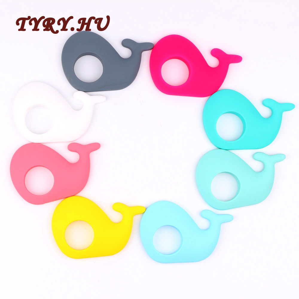 TYRY.HU Baby Teether Silicone Whale For Baby Nursing Baby Teethers Chew Food Grade Silicone Teether Beads Toys Pendant 1pcs