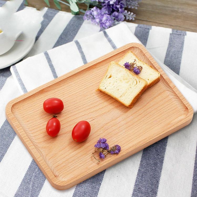 Fából készült tálcák teához Kávé Bor étel, Téglalap alakú - Szervezés és tárolás
