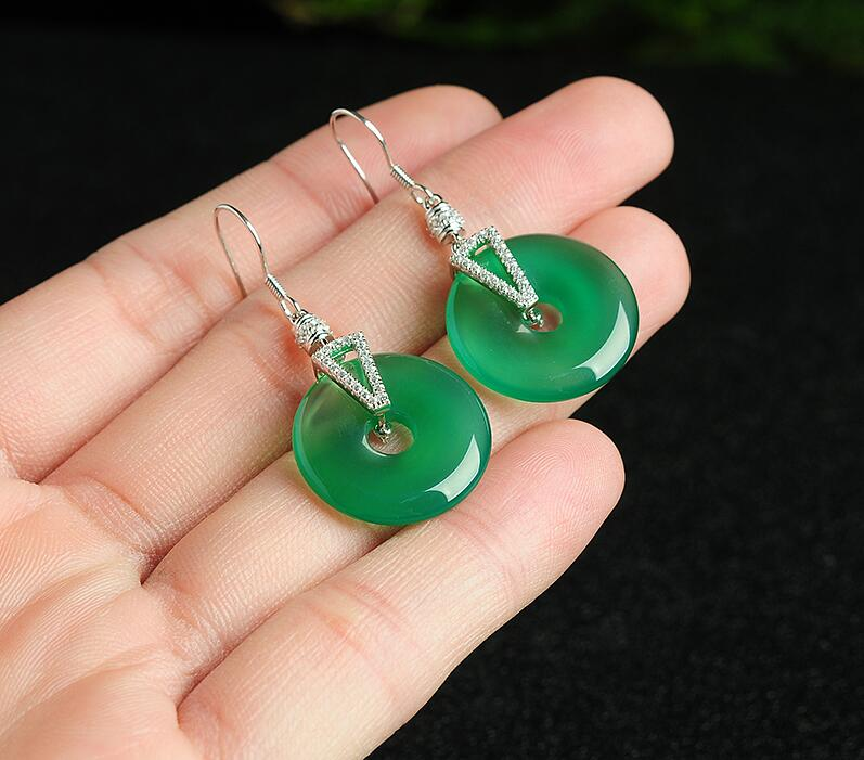 Fashion Natural A Grade Natural /Jadeite Round Circle With 925 Silver Drop Earrings Certificate alloy bead chain circle drop earrings