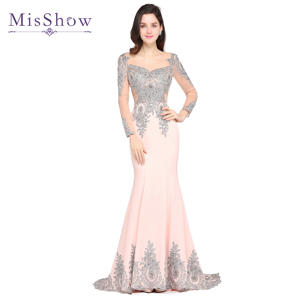 2019 New Sexy Evening Dresses Long Silver Lace Appliques Pink Navy Blue Mermaid Evening Gown Robes De Soiree Longue Formal Dress