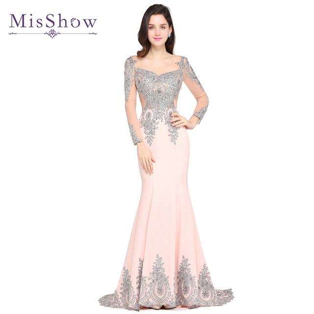 fc74b2de5d 2019 New Sexy Evening Dresses Long Silver Lace Appliques Pink Navy Blue Mermaid  Evening Gown Robes De Soiree Longue Formal Dress
