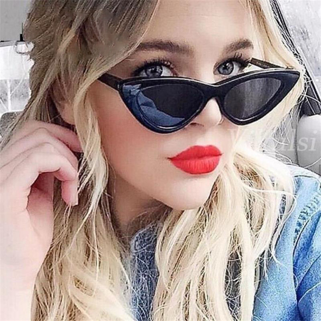 5351636ad48a Retro Cateye Sunglasses Triangle Shades For Women Small Black Sunglasses  Thin Frame Vintage Sun Glasses Female
