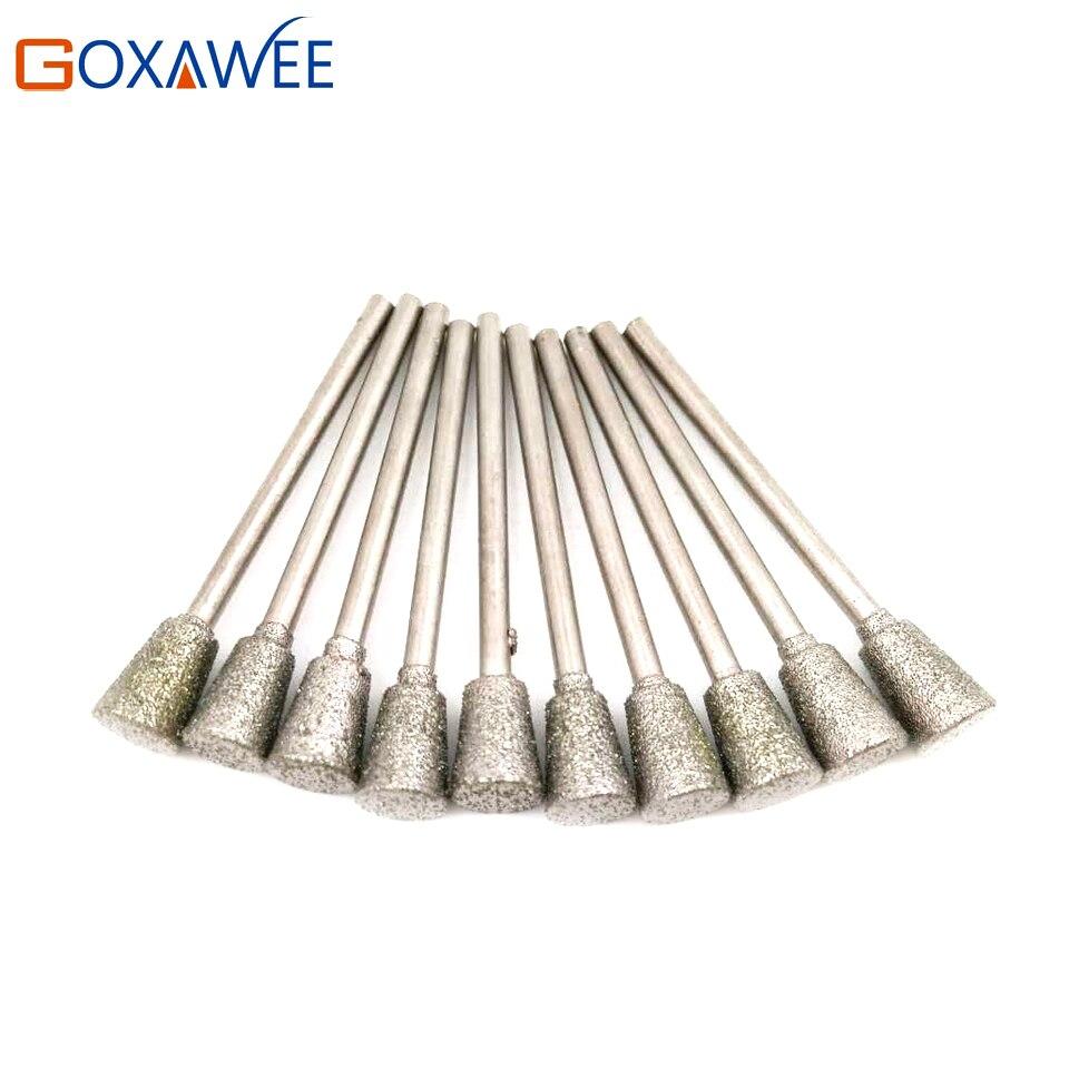 10pcs Gun Drill Bits Diamond Bur Jade Agate Glass Drilling Engraving Tool Kits Metal Drilling For Dremel Tool Head Size 1mm-5mm  цены