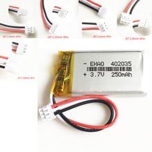 3,7 в 250 мАч 402035 литий-полимерный Перезаряжаемые батарея JST 1,0/1,25/1,5/2,0/2,5 мм 3pin для ручной gps Mp3 gps bluetooth