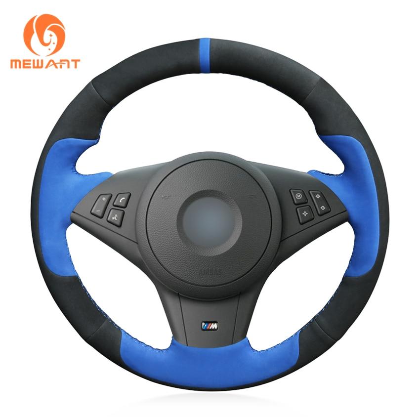 MEWANT Black Suede Blue suede Car Steering Wheel Cover for BMW E60 E63 E64 M5 2005 2007 2008 M6 2007 mewant black genuine leather suede car steering wheel cover for bmw e60 m5 2005 2008 e63 e64 cabrio m6 2005 2010