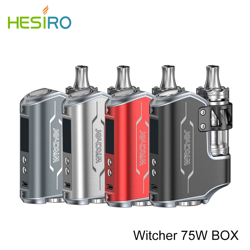 New 100% Original Witcher Electronic Cigarette ROFVAPE 75W BOX MOD Kit E Cigarette TC Kit with Submerged Atomizer 5.5ml Vape