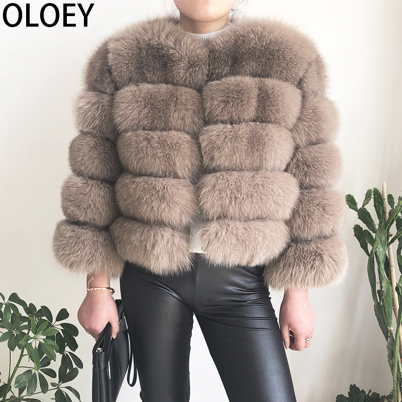 High Quality 100% Real Fox Fur Coat, Female Winter Fashion Warm Leather Natural Fur Coat, Sleeve Short Jacket, Free Shipping