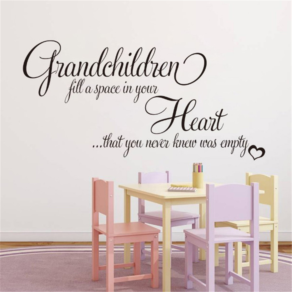 US $2.06 31% OFF 3D Grandchildren Fill Your Empty Heart English Quotes Wall  Stickers Wallpaper Posters Decal Kids Room Bedroom Home Decor-in Wall ...
