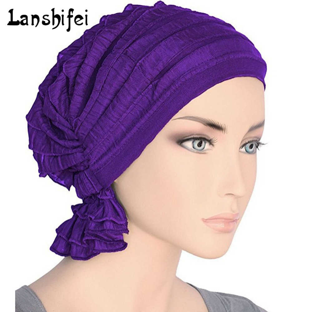 00c963a046a Detail Feedback Questions about Women Chiffon Ruffle Cancer Chemo Hat Beanie  Scarf Turban Head Wrap Cap Knitted hat Casual White Red Light Blue Navy  beige ...