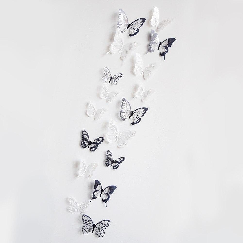 18pcs/set PVC 3D Butterfly Wall Decor DIY Cute Butterflies Stickers Art Decals Home Decoration Room Free Shipping