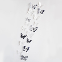 18pcs/set PVC 3D Butterfly Wall Decor DIY Cute Butterflies Stickers Art Decals Home Decoration Room Free Shipping