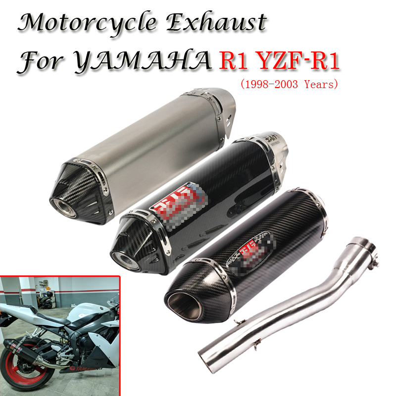 For Yamaha R1 Yzf R1 1998 2003 Yoshimura Exhaust Motorcycle Escape Muffler Removable Db Killer Middle Connection Link Pipe