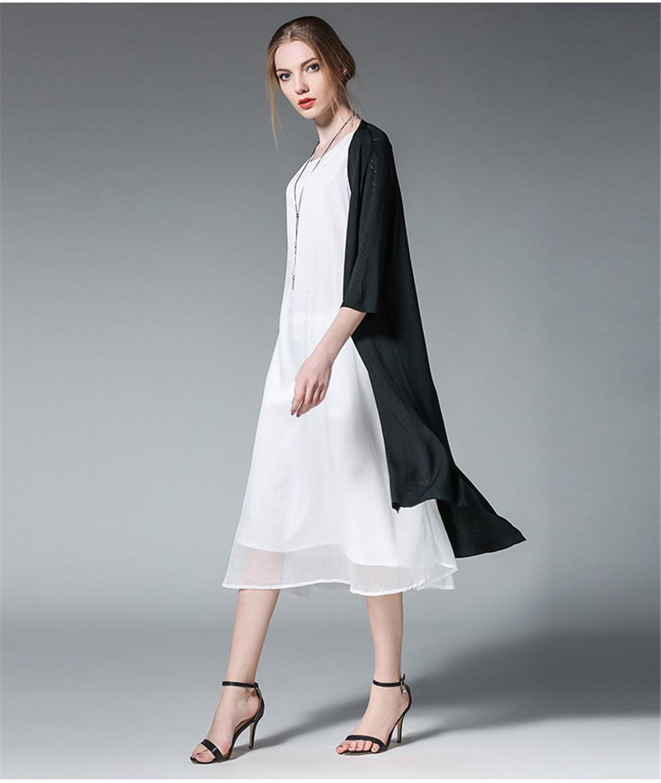 Fashion White Women Long Tank Dress 2017 New Summer Autumn Retro Sleeveless Chiffon Designs Casual Dresses Slim Plus size XXXXL 17