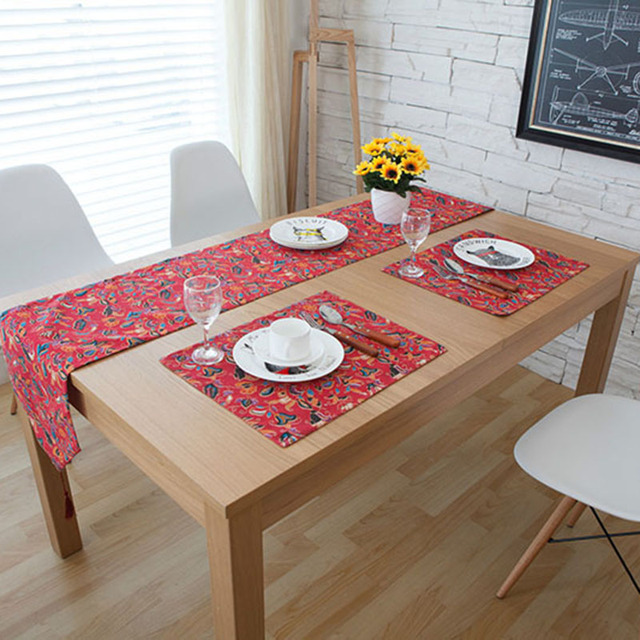 American Style Cotton Table Runner Western Food Red Color Table Runners 3  Sizes Runner Table Floral