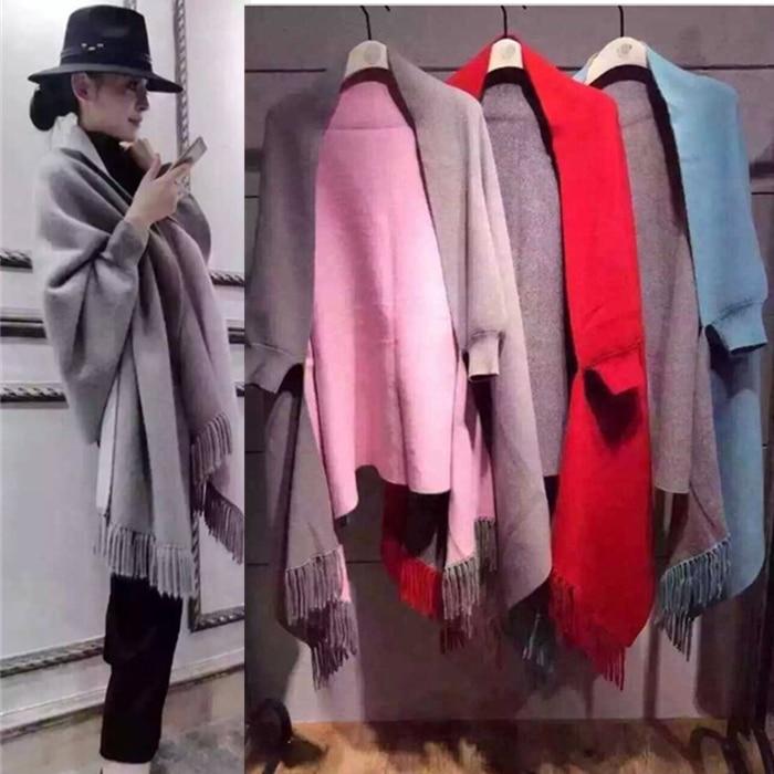 Bianfushan Cardigan 06 Hiver Chaud Pull rouge bleu Spéciale rose kaki Casual Offre 2018 Manteau Nouveau À Châle Femelle Femmes Long Franges noir 02 Tricoter 05 pu Chandail 04 Femme 03 01 gris Ciel 6qArz6w