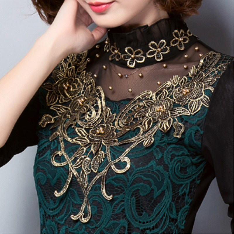 Spring Autumn Elegant Long Sleeve Beaded Women Lace Blouse Shirts Crochet Tops Blusas Mesh Blouse Female Clothing Plus Size in Blouses amp Shirts from Women 39 s Clothing