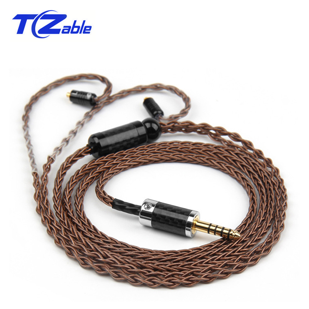 Hifi Earphone Audio <font><b>Cable</b></font> 4.4mm 3.5mm Headphone Jack <font><b>0.78</b></font> <font><b>2pin</b></font> Aux Cord For MMCX <font><b>Cable</b></font> 8 Core Silver-Coated Copper Wire image