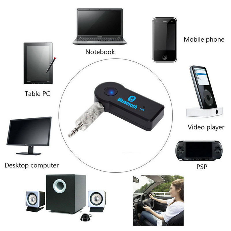 Wireless Car Bluetooth Receiver Adapter 3.5MM AUX Audio Stereo Music Hands freeHome Car Bluetooth Audio Adapter with mic 100set-in Wireless Adapter from Consumer Electronics    1