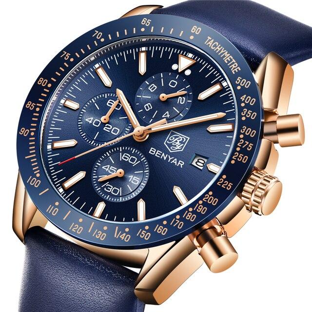 BENYAR 2018 nowy mężczyzna zegarka biznes pełny stalowy kwarcowy Top marka luksusowe dorywczo wodoodporny sport męski zegarek Relogio Masculino