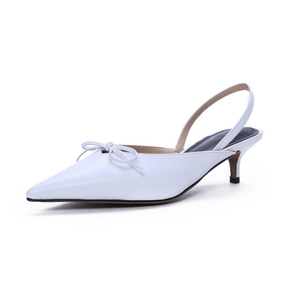 Krazing Topf elegante dame echtes leder slip auf slingback frauen sandalen spitz bowtie stiletto heels hochzeit schuhe L54-in Mittlere Absätze aus Schuhe bei  Gruppe 3