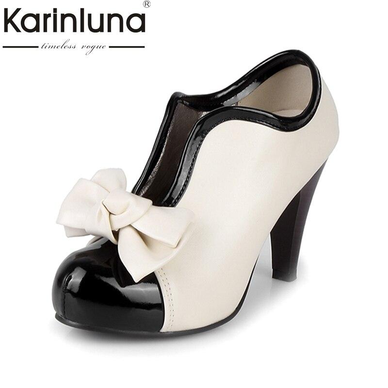 b6a10366 Karinluna/модные женские туфли-лодочки на высоком каблуке с бантиком, большие  размеры 34