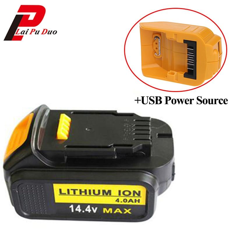 14.4V 4000mAh Li-Ion power tool replacement battery for Dewalt : DCB140, DCB141-XJ with USB Power Source Charging Adapter 14 4v c 4000mah power tool battery for dewalt dcb140 xj dcb140 dcd735l2 dcf835c2 dcf835l2 dcl030 xr dcd936l2