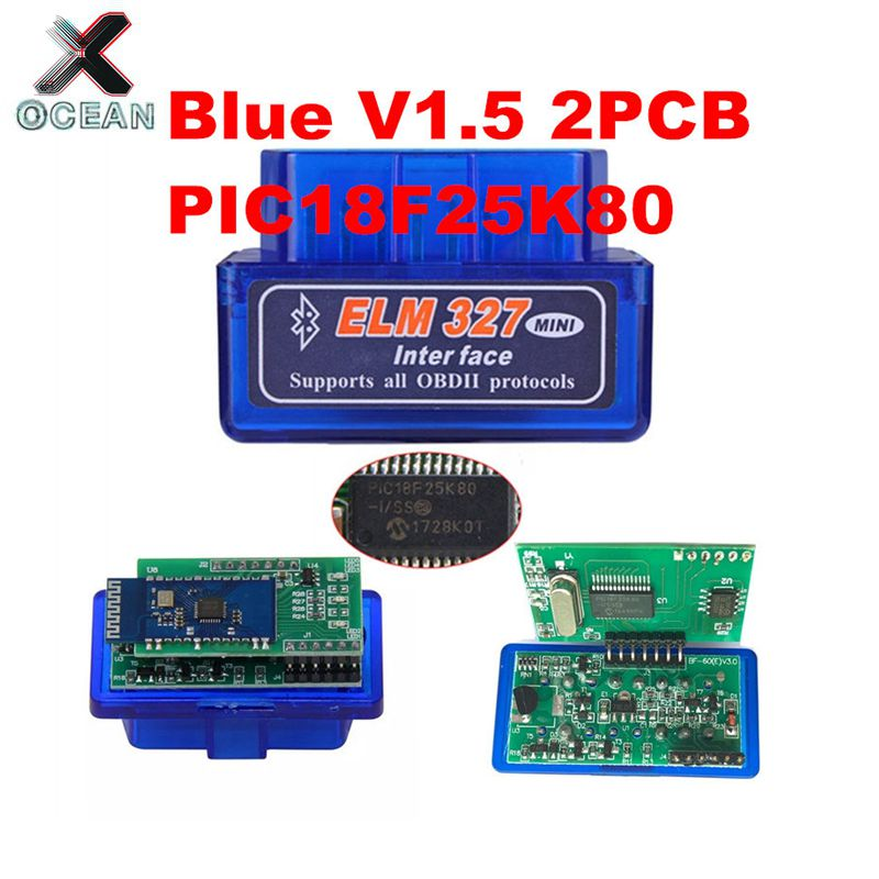 OCEAN 2PCB PIC18F25K80 Firmware <font><b>1.5</b></font> <font><b>ELM327</b></font> V1.5 OBD2 Bluetooth Diagnostic Interface ELM 327 V1.5 Hardware Support More Car image